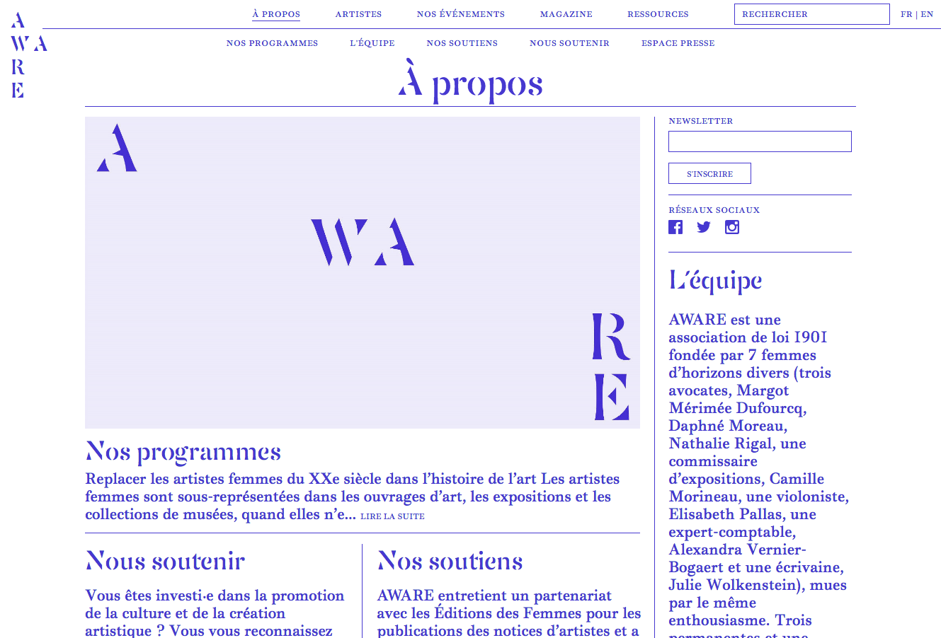 AWARE, website — Lisa Sturacci Graphiste