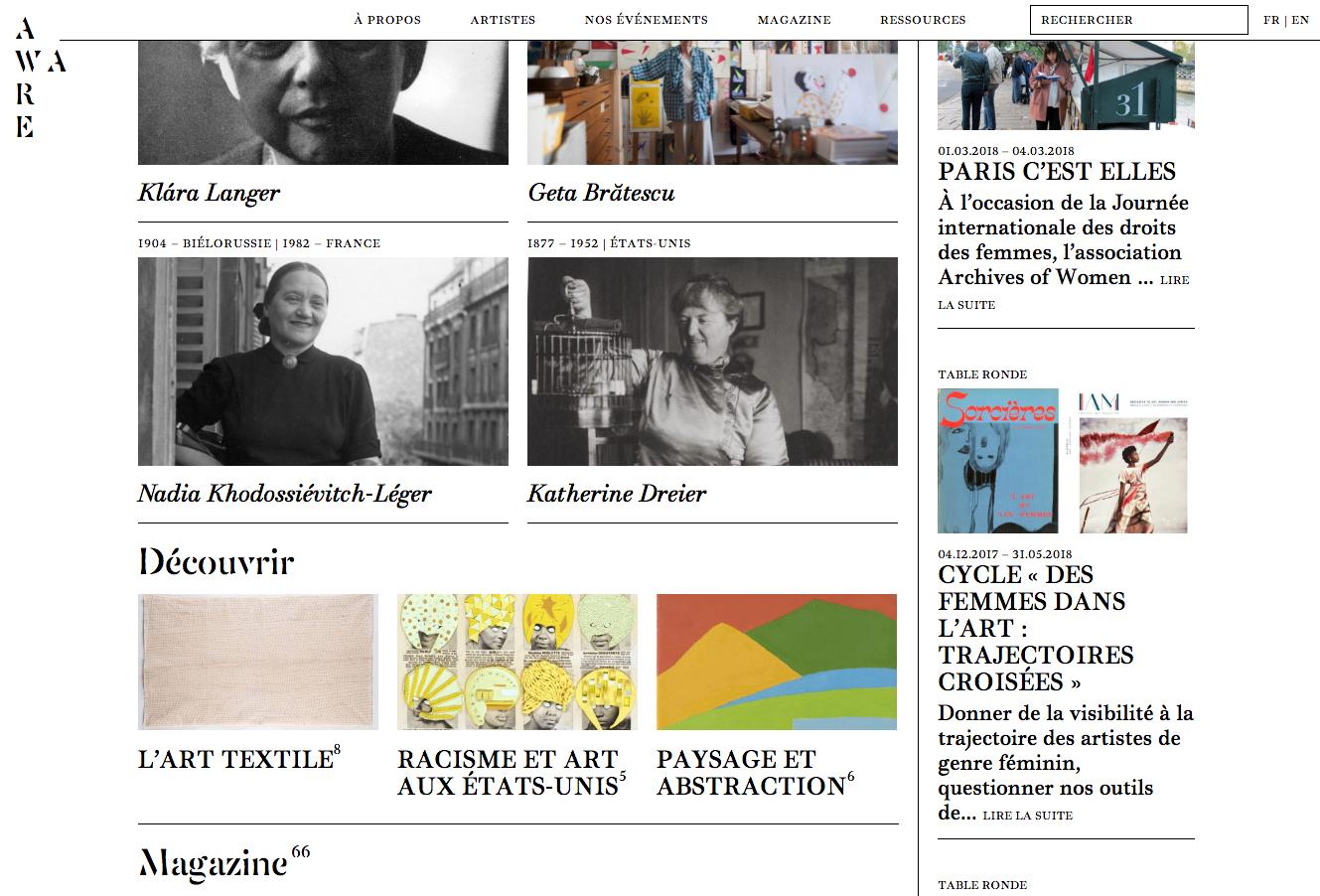 AWARE, website — Lisa Sturacci Graphiste