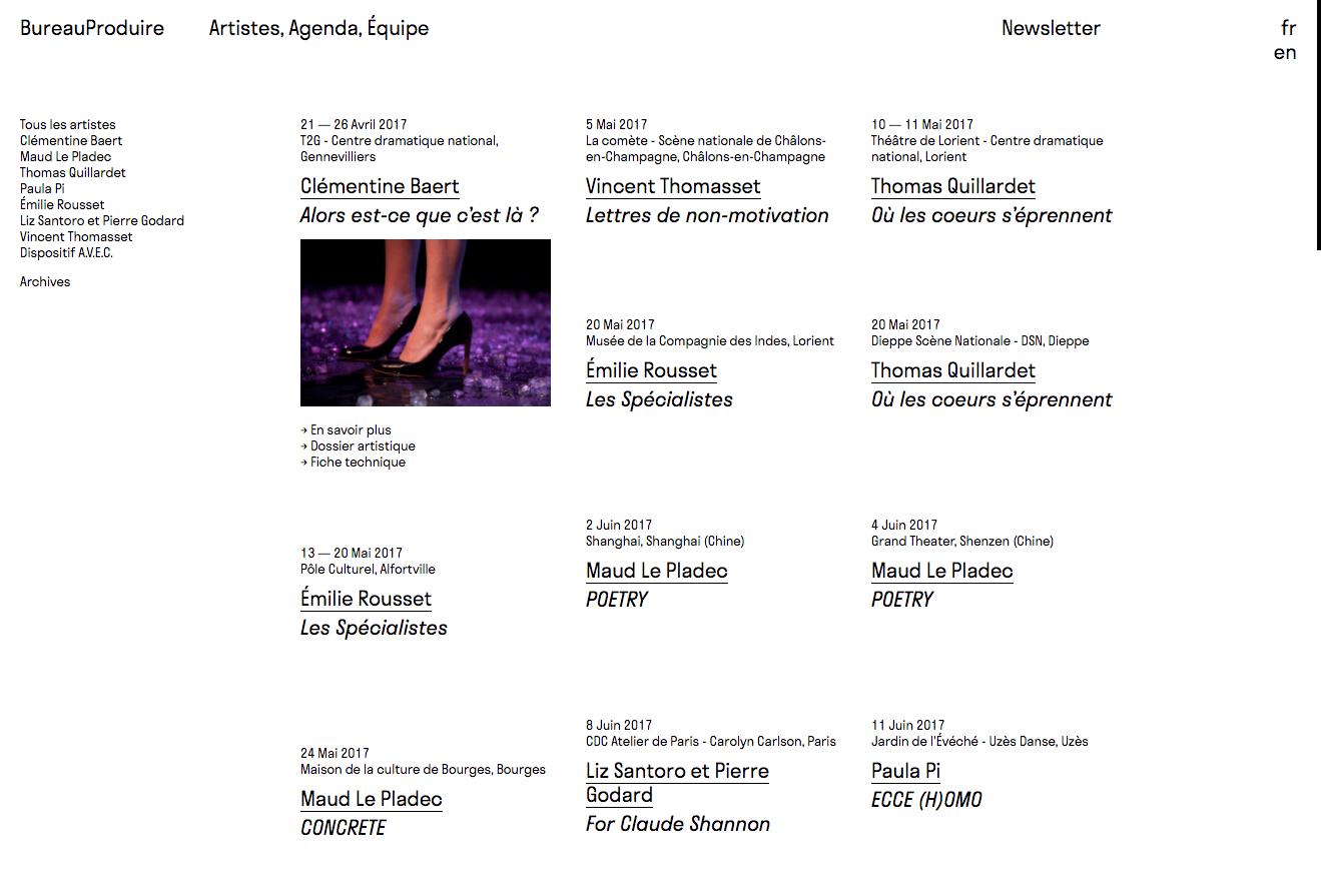 BureauProduire, website — Lisa Sturacci Graphiste