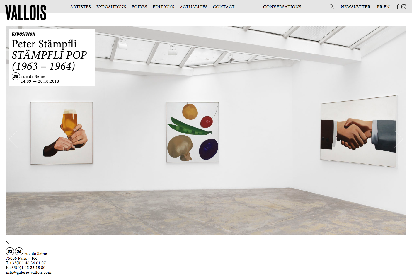 Galerie Georges-Philippe et Nathalie Vallois, website — Lisa Sturacci Graphiste